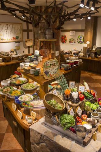 『元気になる農場レストラン モクモク』朝食ブッフェ(料理台)